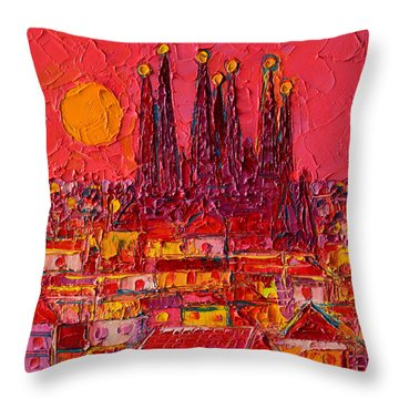 Barcelona Moon Over Sagrada Familia - Palette Knife Oil Painting By Ana Maria Edulescu Throw Pillow