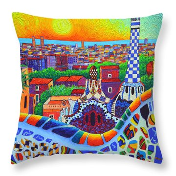 Barcelona Park Guell Sunrise Gaudi Tower Textural Impasto Knife Oil Painting By Ana Maria Edulescu Throw Pillow