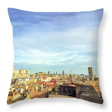 Throw Pillow featuring the photograph Barcelona Rooftops by Colleen Kammerer