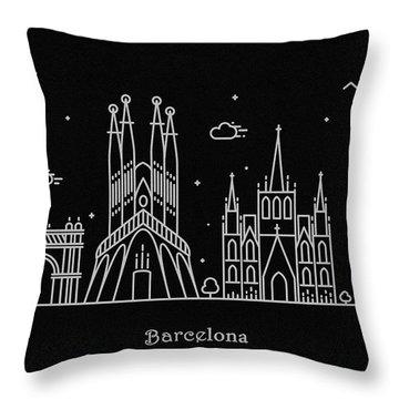 Barcelona Skyline Travel Poster Throw Pillow