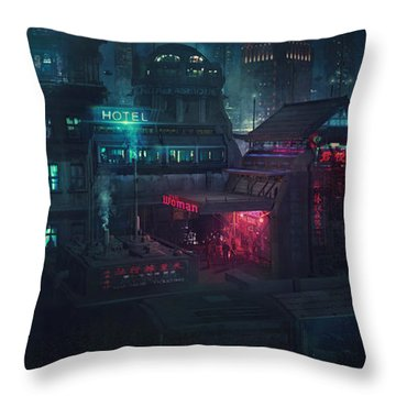 Barcelona Smoke And Neons Eixample Throw Pillow