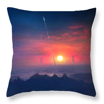 Barcelona Smoke And Neons Montserrat Throw Pillow
