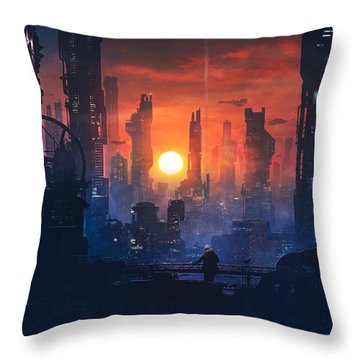 Barcelona Smoke And Neons The End Throw Pillow