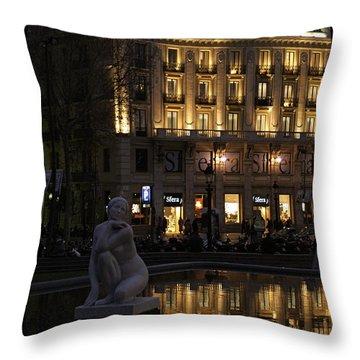Barcelona Spain Throw Pillow by Henri Irizarri