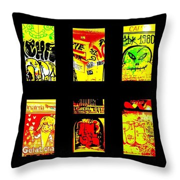 Barcelona Store Fronts Throw Pillow by Funkpix Photo Hunter