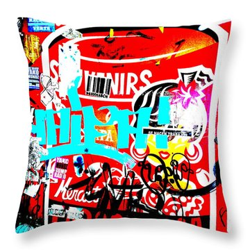 Barcelona Street Graffiti Throw Pillow by Funkpix Photo Hunter