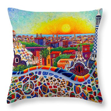 Barcelona Sunrise Colors From Park Guell Modern Impressionism Knife Oil Painting Ana Maria Edulescu Throw Pillow