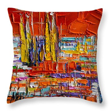 Barcelona View From Parc Guell - Abstract Miniature Throw Pillow