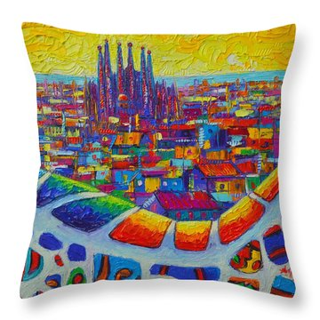 Barcelona View Sagrada From Park Guell Impressionist Abstract City Knife Painting Ana Maria Edulescu Throw Pillow