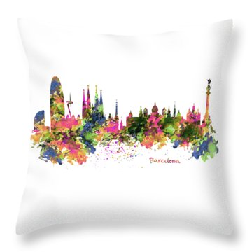 Barcelona Watercolor Skyline Throw Pillow by Marian Voicu