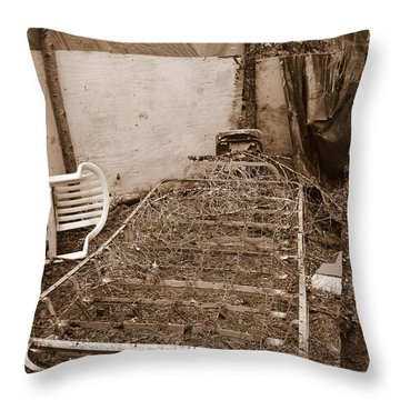 Throw Pillow featuring the photograph Bare Bones Miners Camp by Marie Neder