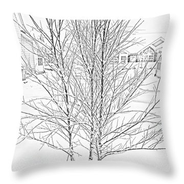 Bare Naked Tree Throw Pillow