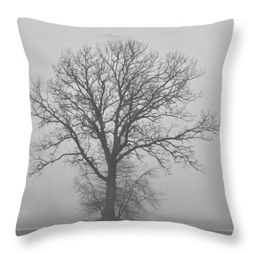 Bare Tree In Fog Throw Pillow