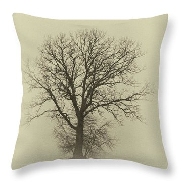 Bare Tree In Fog- Nik Filter Throw Pillow
