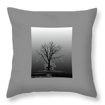 Bare Tree In Fog- Pe Filter Throw Pillow by Nancy Landry