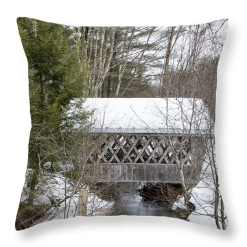 Bare-walker Covered Bridge  Throw Pillow