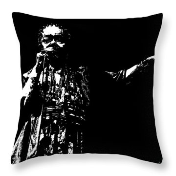 Throw Pillow featuring the digital art Barefoot Diva - Cesaria Evora by Maciek Froncisz