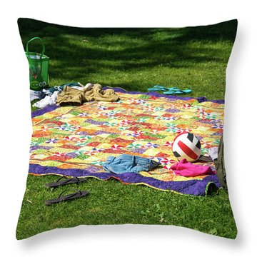 Barefoot In The Grass Throw Pillow