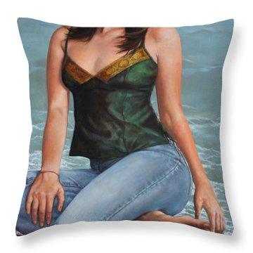Barefoot Model Throw Pillow