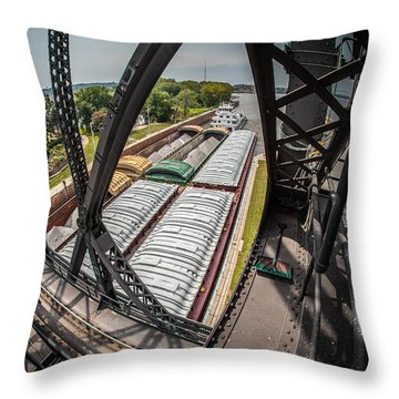 Barge Traffic  Throw Pillow by Ray Congrove
