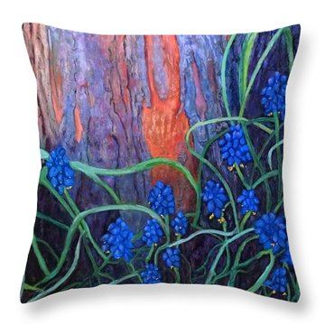 Bark And Bluebells Throw Pillow