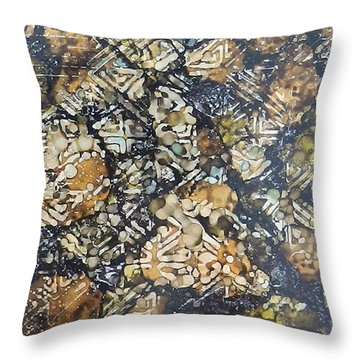 Throw Pillow featuring the painting Bark Batik Ink #22 by Sarajane Helm