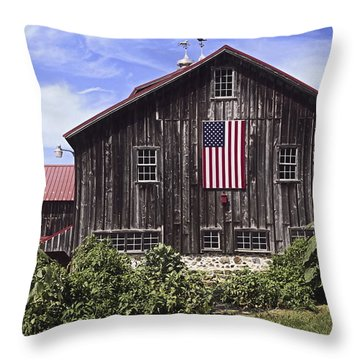 Barn And American Flag Throw Pillow by Sally Weigand