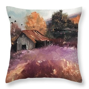 Barn And Birds  Throw Pillow