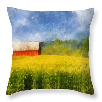 Throw Pillow featuring the digital art Barn And Cornfield by Francesa Miller