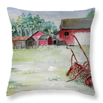 Barn And Cultivator Throw Pillow