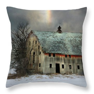 Barn And Sundog Throw Pillow by Kathy M Krause