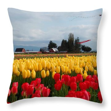 Barn And Tulips Throw Pillow by Karen Molenaar Terrell