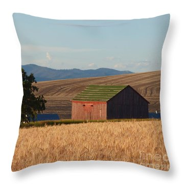 Barn And Wheat Throw Pillow