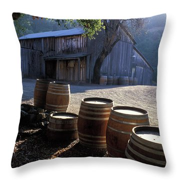 Barn And Wine Barrels Throw Pillow by Kathy Yates