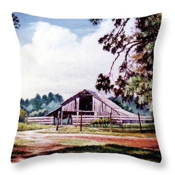 Barn At Honey Island Throw Pillow