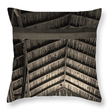 Barn Ceiling In Sepia Tone Throw Pillow by Brooke T Ryan