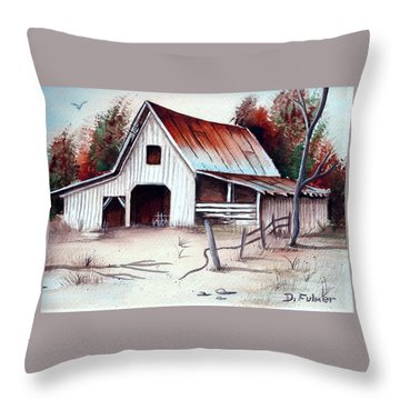 Throw Pillow featuring the painting Barn by Denise Fulmer