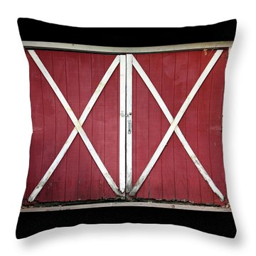 Throw Pillow featuring the photograph Red Barn Doors by Sheila Brown