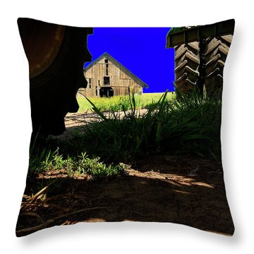 Barn From Under The Equipment Throw Pillow