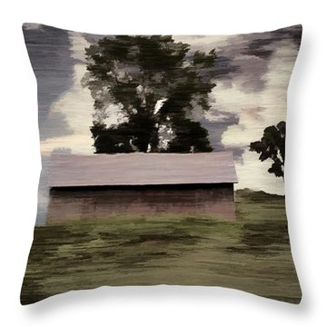 Barn II A Digital Painting Throw Pillow