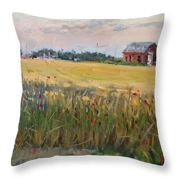 Barn In A Field Of Grain Throw Pillow