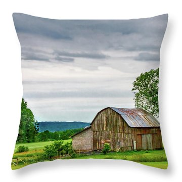 Throw Pillow featuring the photograph Barn In Bliss Township by Bill Gallagher