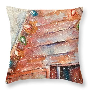 Barn In Snow Throw Pillow