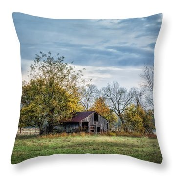 Barn On A Misty Morning Throw Pillow by James Barber