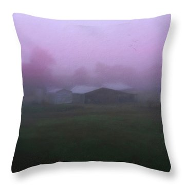 Barn On A Misty Morning Throw Pillow