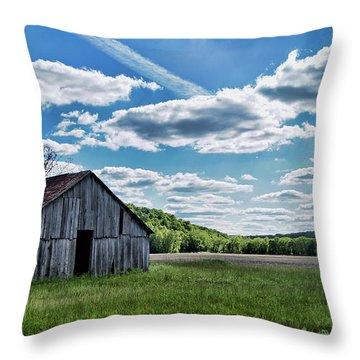 Throw Pillow featuring the photograph Barn On Cedar Creek Bottoms by Cricket Hackmann