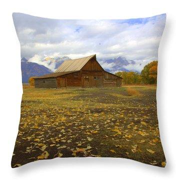 Barn On Mormon Row Wyoming Throw Pillow