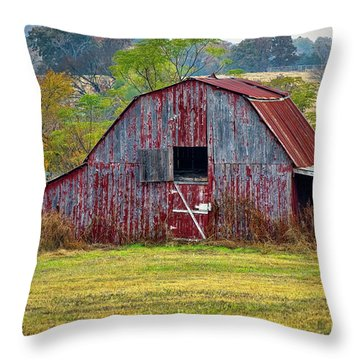 Barn On White Oak Road 2 Throw Pillow