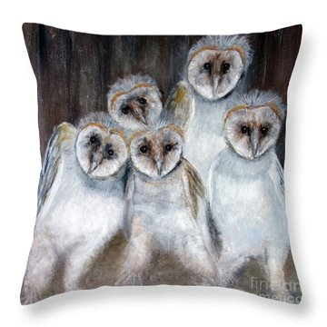 Barn Owl Chicks Throw Pillow