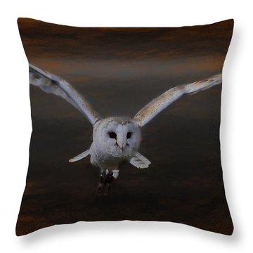Barn Owl Drama Throw Pillow
